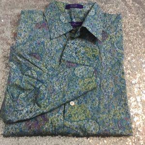NWOT Alan Flusser paisley print long sleeve shirt